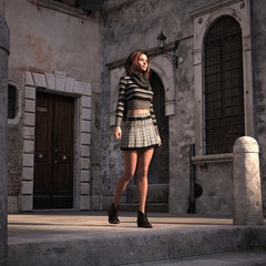 3d illustration of a woman nicely dressed in an old world courtyard in the late afternoon light.