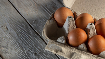 Chicken eggs in cardboard rack or egg box on white table.