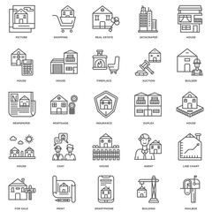 Simple Set of 25 Vector Line Icon. Contains such Icons as Mailbo