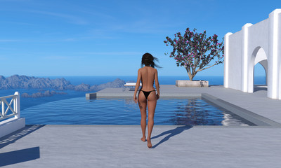 3d illustration of a topless woman wearing a black thong bikini bottom walking toward a swimming pool at a resort setting.