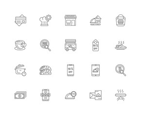 20 linear icons related to Cooking, Hot dish, Take away, Cash, W