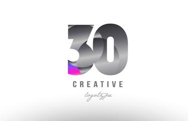 30 silver grey metal metallic gradient number logo icon design