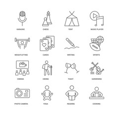 16 linear icons related to Cooking, Cards, Karaoke, undefined, G