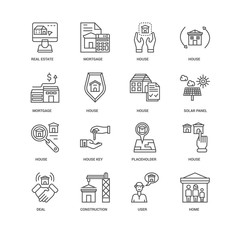 Simple Set of 16 Vector Line Icon. Contains such Icons as Home,