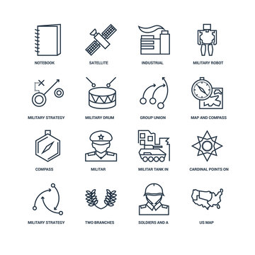 Set Of 16 outline icons such as US map, Soldiers and a weapon, N