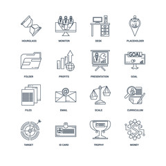 Set Of 16 outline icons such as Money, Trophy, Id card, Target,