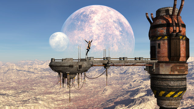 3d illustration of a woman leaping from a derelict high platform on an alien world with double moons in the background.
