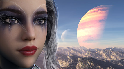3d illustration of a young woman with exotic makeup and alien sky in the background.
