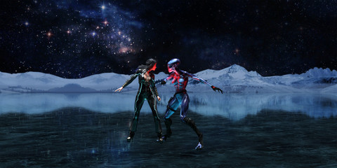 3d illustration wide view of an extraterrestrial and a female human facing off on an icy alien world with the universe in the background.