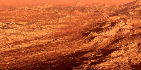 Wide view 3d illustration of a red planet with a rocky rough terrain. Wall mural