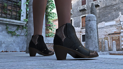 3d illustration of ankle high boots being worn by a woman in a vacation setting.