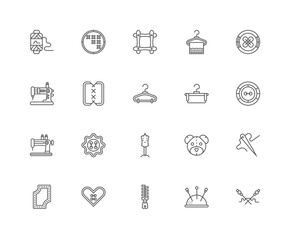 Simple Set of 20 Vector Line Icon. Contains such Icons as Knit,