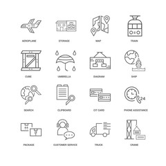 16 linear icons related to Crane, Umbrella, Aeroplane, undefined