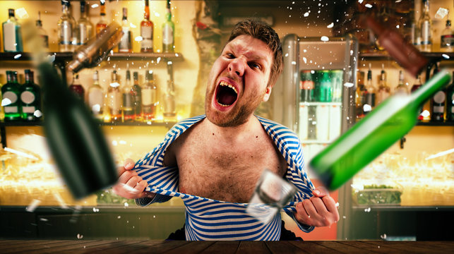 Drunk bartender tears his vest at the bar counter