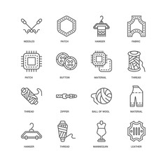 Simple Set of 16 Vector Line Icon. Contains such Icons as Leathe