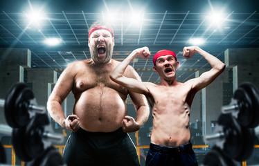 Funny bodybuilders shows muscle in gym Wall mural