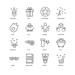 16 linear icons related to Mortar, Witch, Magic book, Mask, Pot,