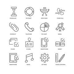 16 linear icons related to School material, Telephone, Hourglass