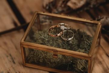 Luxury gold wedding rings.