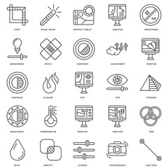Simple Set of 25 Vector Line Icon. Contains such Icons as Tool,