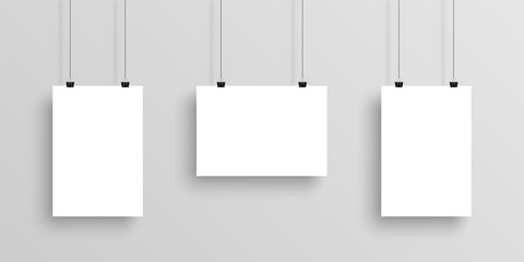 Three white realistic Poster mockup with shadow on gradient background