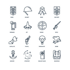 Set Of 16 outline icons such as Backpack, Walkie talkie, Strateg