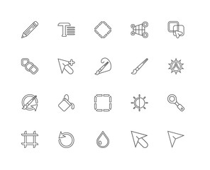 Simple Set of 20 Vector Line Icon. Contains such Icons as Arrow,