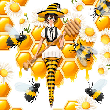 Cute brown hair honey witch flying with bees. Female holding honey dipper, magic wand. Striped bee style costume. Flat vector illustration on white background with honeycomb and chamomile