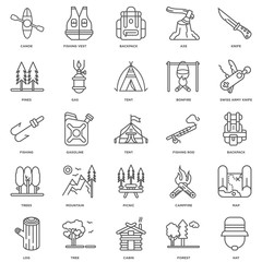 Simple Set of 25 Vector Line Icon. Contains such Icons as Hat, F