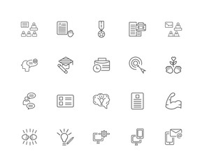 20 linear icons related to Email, Responsive, Coding, Creativity