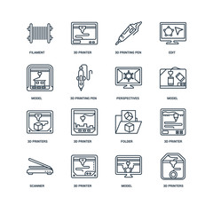 Set Of 16 Universal Editable Icons. Includes Elements Such As 3d