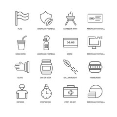 16 linear icons related to undefined, First Aid Kit, Flag, Refer