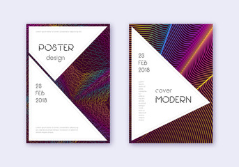 Stylish cover design template set. Rainbow abstrac