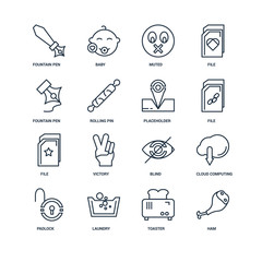 Set Of 16 outline icons such as Ham, Toaster, Laundry, Padlock,