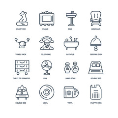 Set Of 16 outline icons such as Floppy disk, Vinyl, Double bed,