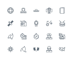 Set Of 20 outline icons such as US map, Military drum musical in