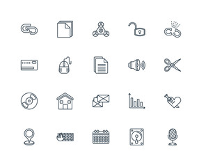 Set Of 20 Universal Editable Icons. Includes Elements Such As Mi