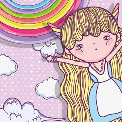 girl fantastic creature with rainbow and clouds