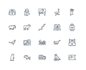 Set Of 20 outline icons such as Ticket, Monkey, Vehicle, Crocodi