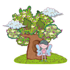 fairy fantastic creature with tree houses