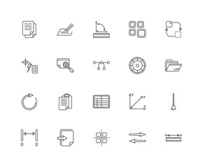 Simple Set of 20 Vector Line Icon. Contains such Icons as Measur