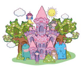 fantastic girls creatures in the castle with trees and sun
