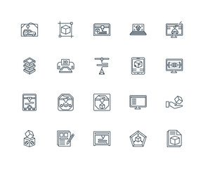 Set Of 20 Universal Editable Icons. Includes Elements Such As 3d