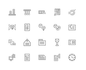 20 linear icons related to Time, Phone, Card, Graphics, Computer