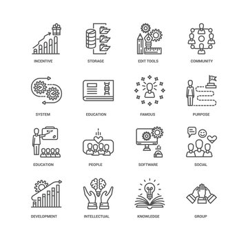 Simple Set of 16 Vector Line Icon. Contains such Icons as Group,