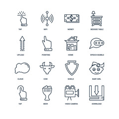 Set Of 16 outline icons such as Download, Video camera, Beer, Ta