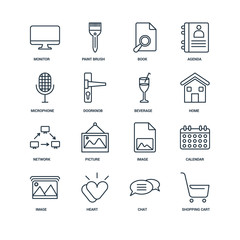 Set Of 16 Universal Editable Icons. Includes Elements Such As Sh