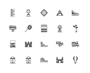 20 linear icons related to Hot air balloon, Amusement park, Slid