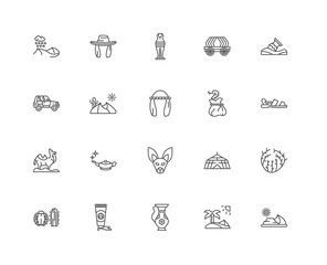 Simple Set of 20 Vector Line Icon. Contains such Icons as Desert