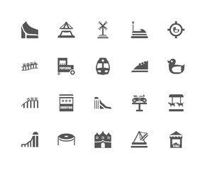 20 linear icons related to Stall, Duck, Shoot duck, Bumper car,